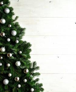 Silver ornament balls Christmas tree